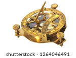 vintage  sextant with compass  is a doubly reflecting navigation instrument on an isolated white background