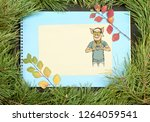 new year greeting card with pig....   Shutterstock . vector #1264059541