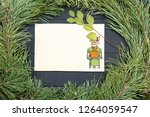 new year greeting card with pig....   Shutterstock . vector #1264059547