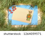 new year greeting card with pig....   Shutterstock . vector #1264059571
