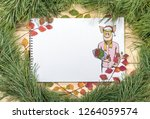 new year greeting card with pig....   Shutterstock . vector #1264059574
