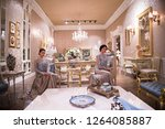 classic living room design and... | Shutterstock . vector #1264085887