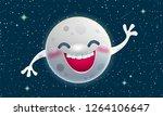 cartoon smiling moon greeting... | Shutterstock .eps vector #1264106647