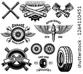 set of vintage tire service... | Shutterstock .eps vector #1264110451