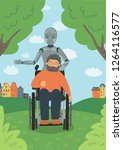 robot caring for disabled...   Shutterstock .eps vector #1264116577