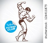 bodybuilder fitness model... | Shutterstock .eps vector #126411875