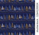 hand drawn naive christmas tree ... | Shutterstock .eps vector #1264120024