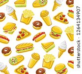 fast food background. vector | Shutterstock .eps vector #1264134907