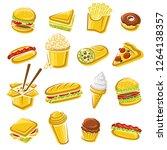 fast food set. vector | Shutterstock .eps vector #1264138357