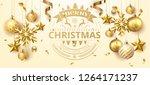 golden holiday christmas ball... | Shutterstock .eps vector #1264171237