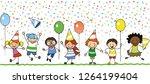 happy kids celebrating birthday ... | Shutterstock .eps vector #1264199404