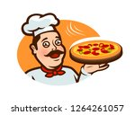 happy chef holding a pizza tray.... | Shutterstock .eps vector #1264261057