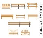 wooden one park outdoor bench... | Shutterstock . vector #1264303351