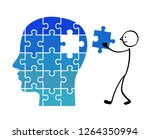 puzzle's face and person | Shutterstock .eps vector #1264350994