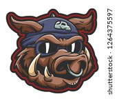 pig wearing aviator helmet with ...   Shutterstock .eps vector #1264375597