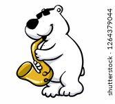 polar bear saxophonist plays...   Shutterstock .eps vector #1264379044