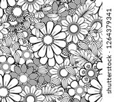 monochrome floral background.... | Shutterstock .eps vector #1264379341