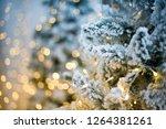 christmas tree closeup  light... | Shutterstock . vector #1264381261