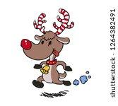 reindeer  running with candy...   Shutterstock .eps vector #1264382491