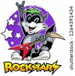 cartoon style raccoon playing... | Shutterstock .eps vector #1264391434