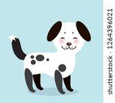 kawaii funny white black dog ... | Shutterstock . vector #1264396021