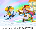 cartoon winter nature scene... | Shutterstock . vector #1264397554