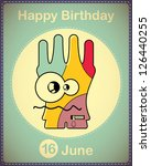happy birthday card with cute... | Shutterstock .eps vector #126440255