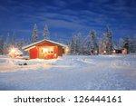 Winter Landscape With Cabin Hu...