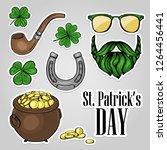 stickers set for saint patricks ... | Shutterstock .eps vector #1264456441