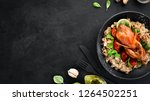 baked quail with oatmeal and...   Shutterstock . vector #1264502251