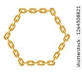 gold chain. hexagon frame.... | Shutterstock .eps vector #1264508821
