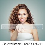 young woman student pointing to ...   Shutterstock . vector #1264517824