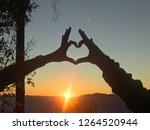 couple raising finger heart... | Shutterstock . vector #1264520944
