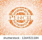 pencil orange mosaic emblem | Shutterstock .eps vector #1264521184