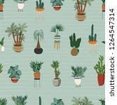 interior home plants vector... | Shutterstock .eps vector #1264547314