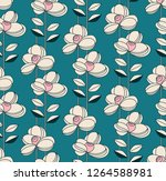 seamless pattern with flowers... | Shutterstock .eps vector #1264588981