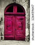 Old Wood Red Door With Damaged...