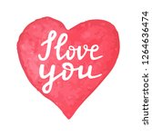 hand drawn watercolor heart...   Shutterstock .eps vector #1264636474