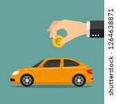 hand put euro in car shaped... | Shutterstock .eps vector #1264638871