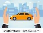 two hands protect a car ...   Shutterstock .eps vector #1264638874