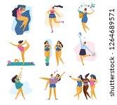 happy body positive girls with... | Shutterstock .eps vector #1264689571
