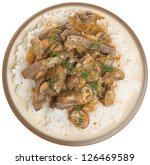 Beef stroganoff with rice - stock photo