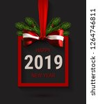 vector 2019 new year card with... | Shutterstock .eps vector #1264746811
