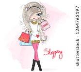 hand drawn beautiful  cute... | Shutterstock .eps vector #1264763197