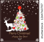 paper cutting christmas white... | Shutterstock .eps vector #1264763707