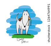 pit bull hand draw character... | Shutterstock .eps vector #1264764991