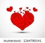 flying hearts. vector red heart ... | Shutterstock .eps vector #1264780141