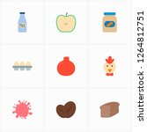 natural food icon set and glass ...