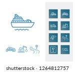 cargo icon set and cruise ship...