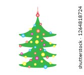 decorated christmas tree with...   Shutterstock .eps vector #1264818724